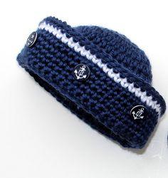 Crochet Sailor Hat Pattern Nautical Baby Boy por PatternsByKrissy
