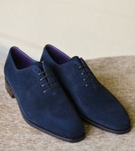 Handmade+Men's+Casual+Shoes,+Men's+Blue+Suede+Lace+Up+Casual+Shoes Description+ Condition+New+With+Box+ oxford+wing+tip+shoes Shoes+upper+material+Genuine+leather Handmade+Dress+Shoes+ Stylish Blue Brogues, Blue Suede Shoes, Lace Up Shoes, Leather Shoes, Soft Leather, Suede Leather, Suede Loafers, Orange Leather, Leather Men