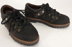 Josef Seibel 38 7 - 7.5 Black Nubuck Suede Embroidered Floral Heart Oxford Shoe #Jose #Oxfords #WeartoWork