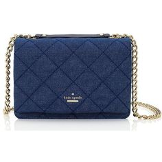 Kate Spade Emerson Place Quilted Denim Vivenna ($358) ❤ liked on Polyvore featuring bags, handbags, shoulder bags, cross body, kate spade shoulder bag, blue crossbody purse, quilted shoulder bag, quilted chain strap shoulder bag and blue handbags