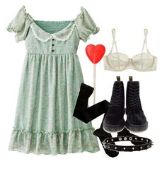 """""""That wasn't very kinderwhore of you."""" by ivy-wilde ❤ liked on Polyvore featuring Fleur of England and Dr. Martens"""