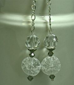 Vintage Austrian Clear White Crystal Bead Earrings, Silver - Puccini by ForeverInStyle on Etsy https://www.etsy.com/listing/204869450/vintage-austrian-clear-white-crystal
