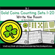 50% off for 24 hrs~(until 11:59 PM EST 03/10/17) Gold Coins Write the Room (Counting Sets 1-20) March - St. Patrick's DayThis resource includes four pages of numbered cards in color with a total of 20 cards. Each numbered card has a set of gold coins with a shamrock to represent each number 1-20.