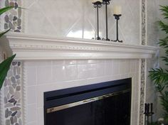mantle/fireplace facade- crown molding, wooden slats, paint, tiles...