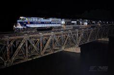 Wabash heritage unit leads a NS train across the Yadkin River near Spencer, NC.