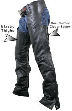 Xelement Women's Advanced Dual Comfort Elastic Thigh Leather Chaps - LeatherUp.com