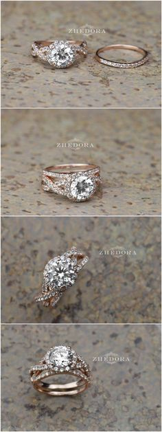 2.15 CT Round Cut Engagement Ring band set in Solid 14k or 18k Rose Gold Bridal / http://www.deerpearlflowers.com/twisted-engagement-rings-wedding-rings/