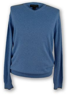 BANANA REPUBLIC Mens VNeck Sweater 2XL XXL Striped Shoulders Wool Silk Blue NEW
