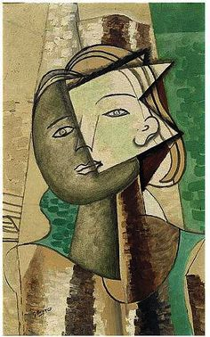 Portrait of a woman 1 by Georges Braque (1882-1963, France)