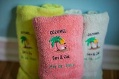 One more #DestinationWedding idea #zakandsara #may282005 - LOVE these #customized #beachtowels from Towels4less.com - Pinterest @TowelsOutlet this is a photo of our very well used wedding favors 9 years later!  Very, impressed!  And all of our wedding guests and friends and family are too - still using them for beach days, boat trips and pool parties!