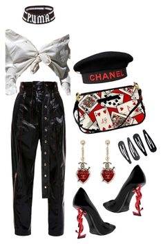 """""""Queen Of Hearts"""" by sophiaaceleste ❤ liked on Polyvore featuring Lulu Guinness, Accessorize, Yves Saint Laurent, Chanel and Proenza Schouler"""