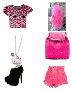 """pretty in pink"" by keyonajean ❤ liked on Polyvore featuring STELLA McCARTNEY and Hello Kitty"