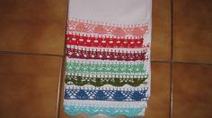 Panos (saco) com bico de croche colorido. Várias cores.