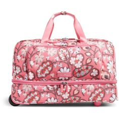 Vera Bradley Lighten Up Wheeled Carry On Luggage in Blush Pink ($198) ❤ liked on Polyvore featuring bags, luggage and blush pink