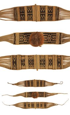 Africa   Three woman's ornamental belts from the Nkundo people of DR Congo   Raffia palm fiber; 2 strand weft wrapping   Late 19th to early 20th century