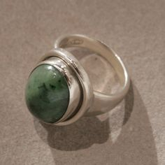 Gallery 925 - Georg Jensen Ring with Jadeite Cabochon Stone by Harald Nielsen, no. 46A