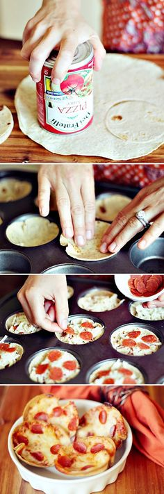 After school snacks Mini Tortilla Crust Pizzas -- super easy to make, can use different ingredients (including low carb tortillas, load up with veggies), great idea! I Love Food, Good Food, Yummy Food, Muffin Tin Recipes, Snack Recipes, Muffin Tins, Pizza Recipes, Brunch Recipes, Muffin Tin Pizza