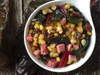 Yellow Split Peas Sautéed with Swiss Chard, Raisins and Pine Nuts Recipe