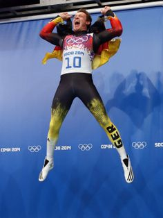 Germany's Felix Loch celebrates winning gold in men's singles luge at the Sochi Winter Olympics. (Photo: Nathan Bilow)