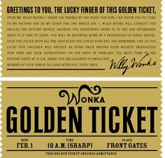 HERO WONKA GOLDEN TICKET FROM TIM BURTON'S CHARLIE AND THE ...
