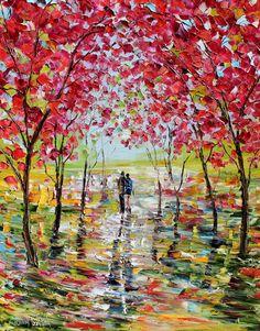 Original Oil Spring Blooms Romance Landscape by Karensfineart