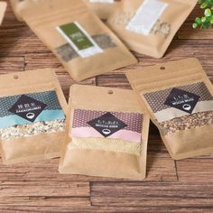 Use windowed bags with colorful labels to help your product stand out! Rice Packaging, Biscuits Packaging, Organic Packaging, Bread Packaging, Food Packaging Design, Paper Packaging, Packaging Design Inspiration, Cool Packaging, Packaging Ideas