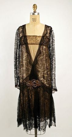 Cotton, silk and metallic thread evening dress 1926-28
