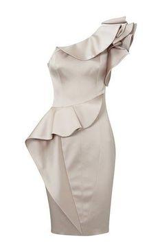 Karen Millen One Shoulder Pencil Dress in Satin. Oo la la.