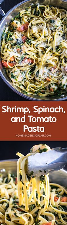 Shrimp, Spinach, and Tomato Pasta! Shrimp, spinach, and tomato tangled up with al dente fettuccine in a garlic butter sauce. A quick weeknight dinner that looks gourmet! | HomemadeHooplah.com