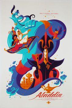 Aladdin Official Disney Poster Tom Whalen SIGNED #162/415 Robin Williams Mondo