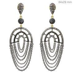 Diamond Dangle Earrings Sterling Silver Vintage Style Fine 14K Gold Jewelry PY #raj_jewels #DropDangle