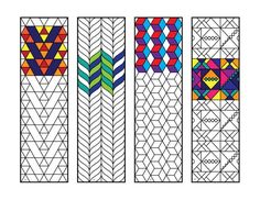 Geometric Bookmarks 2 - PDF Zentangle Coloring Page Geometric Coloring Pages, Colouring Pages, Geometric Star, Geometric Designs, Flower Birthday Cards, Printable Adult Coloring Pages, Art Plastique, Blackwork, Pixel Art