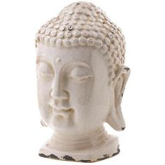 Distressed Buddha Head, Boho Chic Decor ($68) ❤ liked on Polyvore featuring home, home decor, decorative objects, buddha home decor, white home decor, peace sign, white peace sign and ceramic home decor