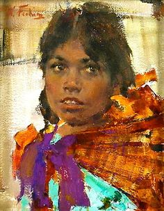 A Mexican Girl, Nicolai Fechin, o/c John Singer Sargent, Figure Painting, Painting & Drawing, Nicolai Fechin, Oil Portrait, Painting Portraits, Abstract Portrait, Paintings I Love, Acrylic Paintings