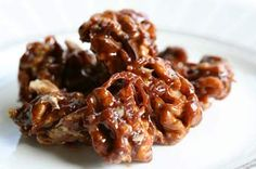 Walnut candy, made with walnut halves coated with a homemade caramel candy sauce.