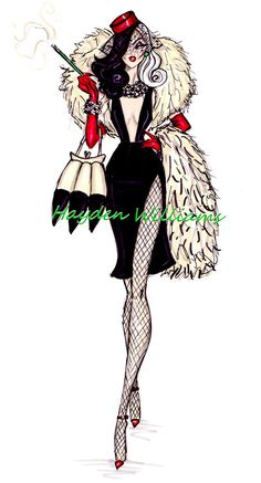 One of my favorite Disney. - Hayden Williams Fashion Illustrations: The Disney Diva Villainess collection by Hayden Williams: Cruella de Vil Hayden Williams, Disney Kunst, Disney Art, Disney Villains, Disney Princesses, Disney Villain Costumes, Disney Characters, Disney Mode, Animation Disney