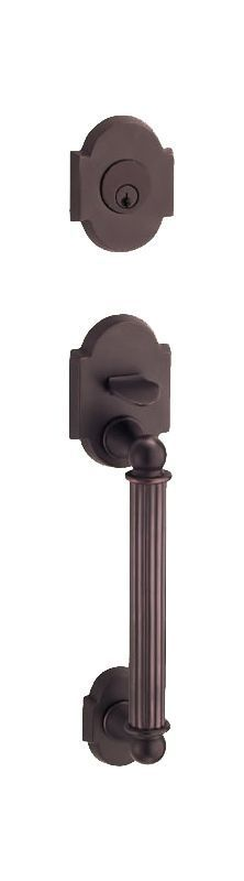 Fusion P9DUMMY Dummy Handleset with a Ribbon Handle Featuring a Two-Piece Bevele Oil Rubbed Bronze Handleset Dummy Set