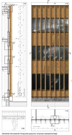 Technical details presented next to an Elevation and a Plan technical section with all parts linign up, is really easy to read from the METLA Forest Research Centre / SARC Architects