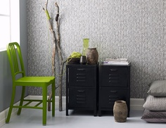 Knitted wallpaper // strikket tapet by Fargerike, Norway Decor, Furnishings, Green Chair, Grey Room, Black Decor, Scandinavian Accessories, Furniture, Interior, Home Decor