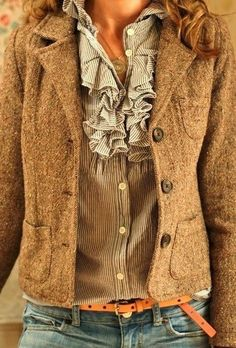 Stylish brown coat, blouse and jeans combination for fall Fun and Fashion Blog