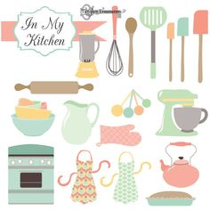 Kitchen Clipart & Vectors by Verdigris Studios on Creative Market Kitchen Clipart, Bakery Logo, Personalized Invitations, Graphic Design Projects, Pencil Illustration, Watercolor Illustration, Creative Sketches, Paint Markers, Recipe Cards