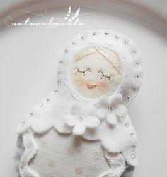 White Flower Babushka   unique doll home decor  by bynaturalmente  Wedding/bride