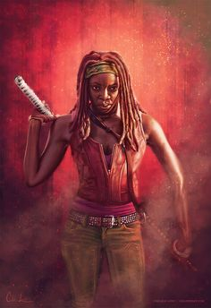 "cmloweart: "" Digital painting of my other favorite lady from The Walking Dead - Michonne! Is it Sunday yet? This mid-season hiatus has been tough on me. Painted in Photoshop on a Cintiq Companion Hybrid. Walking Dead Wallpaper, Walking Dead Tv Series, Fear The Walking Dead, The Walk Dead, Coaching, Arte Dc Comics, Dead Zombie, Dead Inside, Marvel"