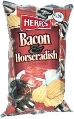 Herrs Bacon & Horseradish Rippled Potato Chips. Discontinued by the manufacturer...how could these possibly be bad?? Want.