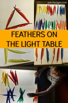 A science exploration of feathers on the light table for preschool pre-k and kindergarten; math or literacy feather activity for Pre-K Science Gifts For Kids, Preschool Science, Thanksgiving Songs For Kids, Science Table, Science Area, Science Experiments, Sensory Activities, Preschool Literacy Activities, Nursery Activities