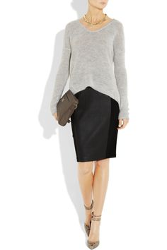 Helmut Lang sweater, Giles & Brother necklace, By Malene Birger skirt, Emilio Pucci shoes, Dolce & Gabbana bag.