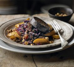 Warm salad of red cabbage, black pudding & apple recipe - Recipes - BBC Good Food
