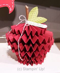 Teacher's Appreciation Day - Apple. Stacked accordion folded craft paper. DIY paper craft. Great addition to gift. Desk-top decoration.