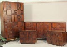 6 Piece Mid-Century Bedroom Set by Lane Paul McCobb style, Triple Dresser 70s Furniture, Mid Century Furniture, Mid Century Bedroom, Paul Mccobb, Bedroom Vintage, Brutalist, Old School, Chrome, House Styles