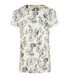 Ecru sepia floral print t-shirt River Island